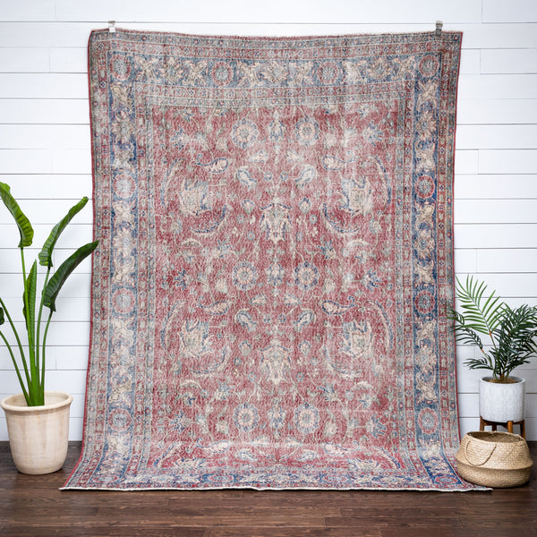 Abele Red & Blue Persian Botanical Border Pattern One-of-a-Kind Handmade Wool Area Rug 7' x 9'11""