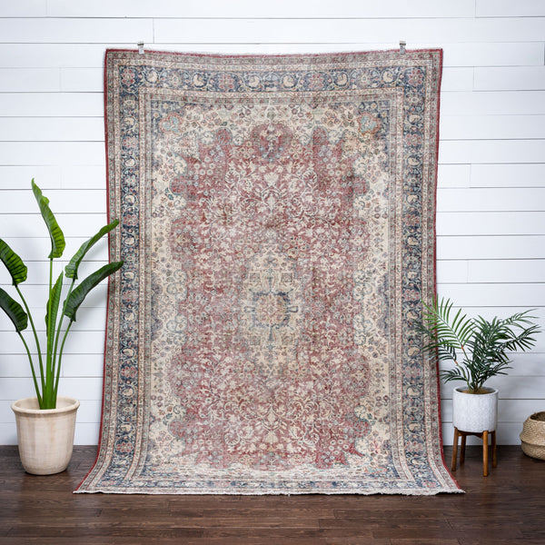"Abeeku Red & Blue Oriental Botanical Border Pattern One-of-a-Kind Handmade Wool Area Rug 6'7"" x 9'10"""
