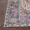 "Almas Red & Blue Oriental Botanical Border Pattern One-of-a-Kind Handmade Wool Area Rug 5'5"" x 9'1"""