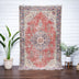 Almas Red & Blue Oriental Botanical Border Pattern One-of-a-Kind Handmade Wool Area Rug 5'5