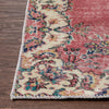 "Alta Red & Beige Oriental Botanical Border Pattern One-of-a-Kind Handmade Wool Area Rug 3'9"" x 6'4"""