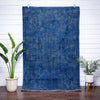 "Diem Blue Overdyed Floral Botanical Border Pattern One-of-a-Kind Handmade Wool Area Rug 5'7"" x 8'10"""