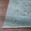 "Edar Light Blue Overdyed Floral Botanical Border Pattern One-of-a-Kind Handmade Wool Area Rug 5'3"" x 8'9"""