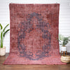 "Cabrenet Pink & Purple Overdyed Medallion One-of-a-Kind Handmade Wool Area Rug 8'8"" x 11'11"""