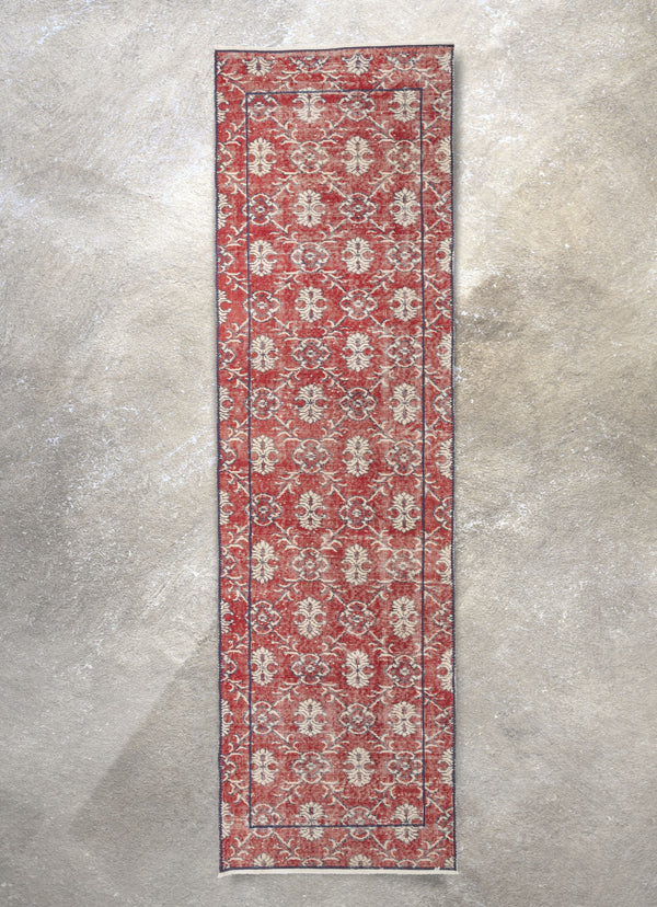 "Lizee Red & Navy Blue Persian Geometric Lattice Pattern One-of-a-Kind Handmade Wool Area Rug 2'7"" x 8'10"" Runner"