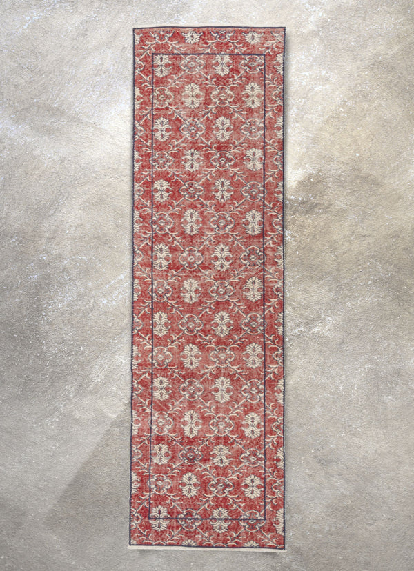 "Nizzo Red & Navy Blue Persian Geometric Lattice Pattern One-of-a-Kind Handmade Wool Area Rug 2'7"" x 8'10"" Runner"