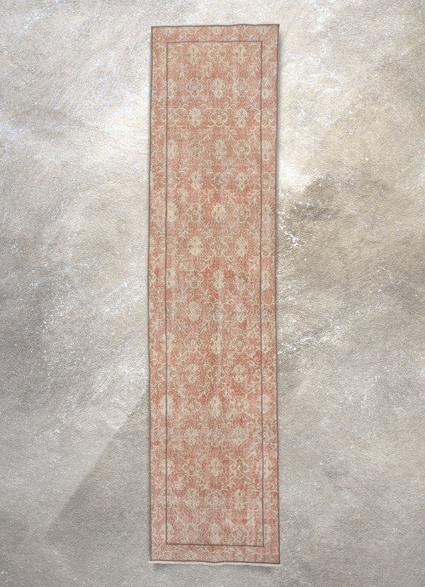 "Silah Red & Beige Persian Geometric Lattice Pattern One-of-a-Kind Handmade Wool Area Rug 2'7"" x 11'2"" Runner"