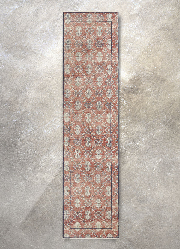 "Berliana Red & Navy Blue Persian Geometric Lattice Pattern One-of-a-Kind Handmade Wool Area Rug 2'7"" x 10'8"" Runner"