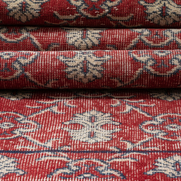 "Farnaz Red & Navy Blue Persian Geometric Lattice Pattern One-of-a-Kind Handmade Wool Area Rug 2' x 8'11"" Runner"