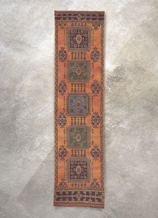 "Basir Burnt Orange Oriental Rustic Medallion One-of-a-Kind Handmade Wool Area Rug 2'11"" x 11'8"" Runner"