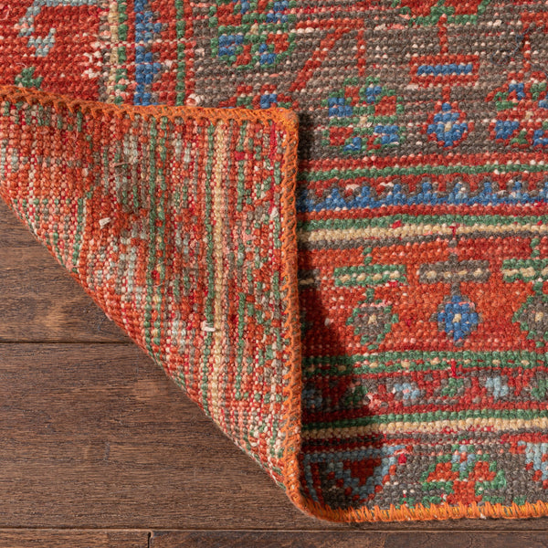 "Aarva Burnt Orange Oriental Rustic Medallion One-of-a-Kind Handmade Wool Area Rug 2'8"" x 9'11"" Runner"