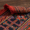 "Devon Orange & Navy Blue Oriental Botanical Border Pattern One-of-a-Kind Handmade Wool Area Rug 2'8"" x 11'10"" Runner"