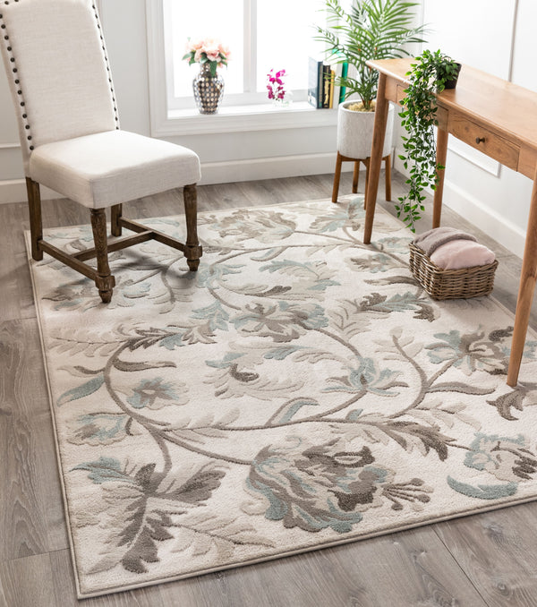 Elsa Farmhouse Floral Cream High-Low Rug