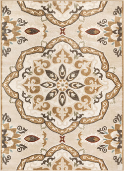 Dorit Traditional Mandala Beige High-Low Rug