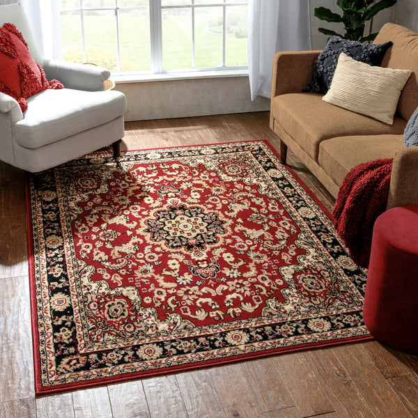Nima Traditional Medallion Persian Red Rug