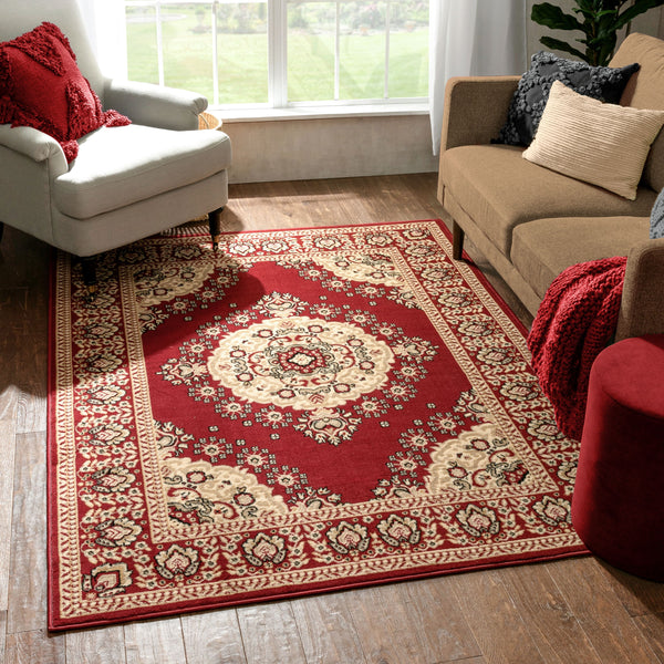 Malika Traditional Medallion Persian Floral Red Rug