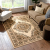 Malika Traditional Medallion Persian Floral Ivory Rug