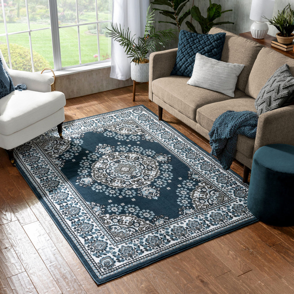 Persa Malika Traditional Medallion Persian Floral Dark Blue Area Rug Pa 114 Well Woven
