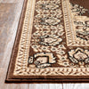Malika Traditional Medallion Persian Floral Brown Rug
