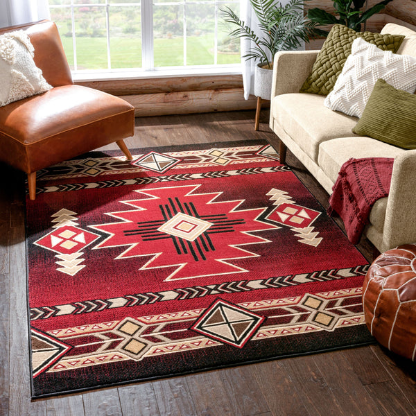 Dakota Tribal Aztec Southwestern Red Rug