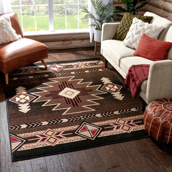 Dakota Tribal Aztec Southwestern Brown Rug