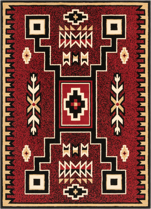 Cheyenne Tribal Geometric Medallion Red Rug