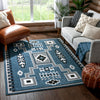 Cheyenne Tribal Geometric Medallion Blue Rug