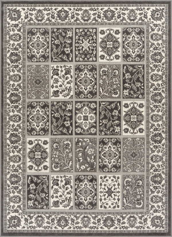 Ornamental Grey Traditional Rug