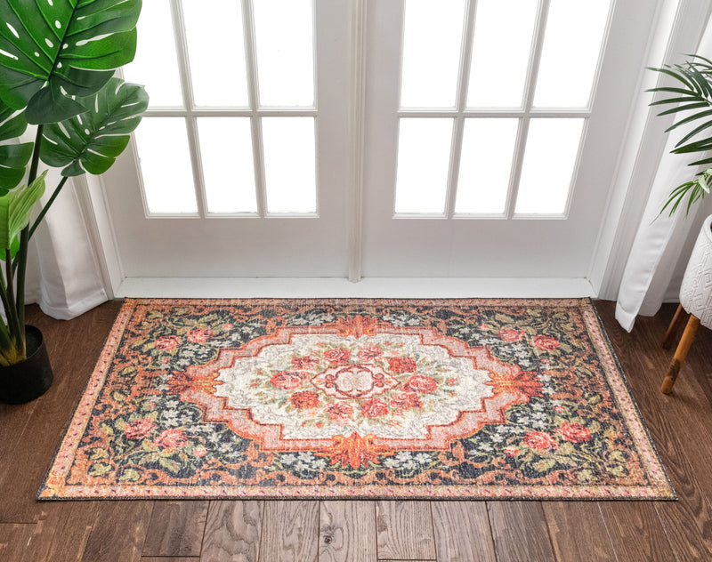 Lateren Eclectic Floral Black-Blush Machine Washable Rug By Chill Rugs