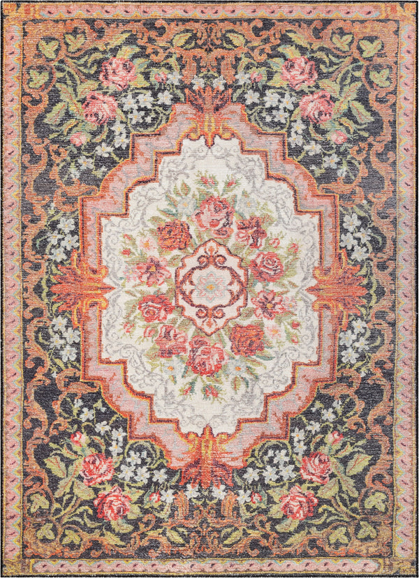 Lateren Eclectic Floral Black-Blush Machine Washable Rug