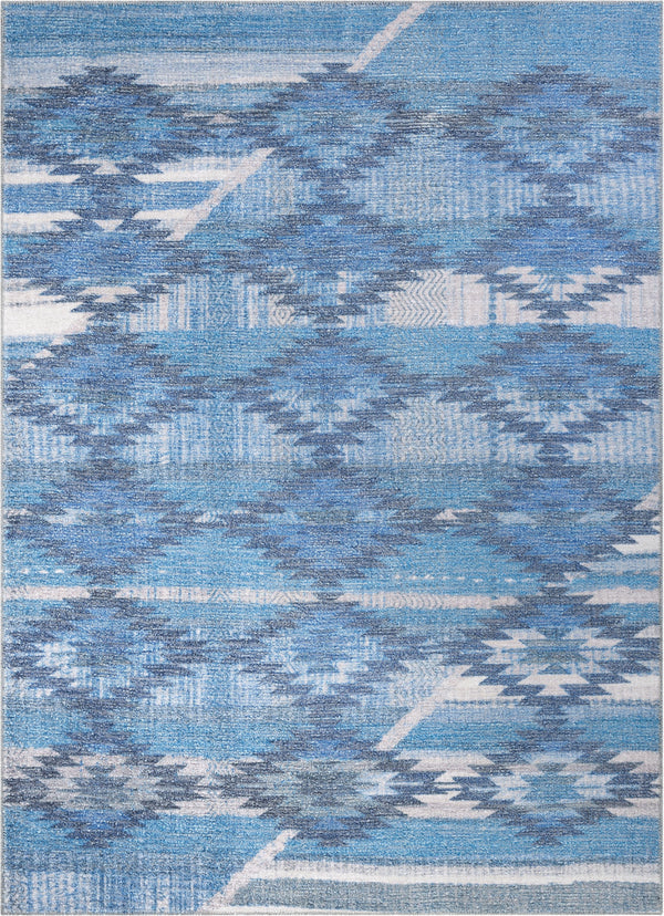 Trio Southwestern Geometric Blue Machine Washable Rug By Chill Rugs