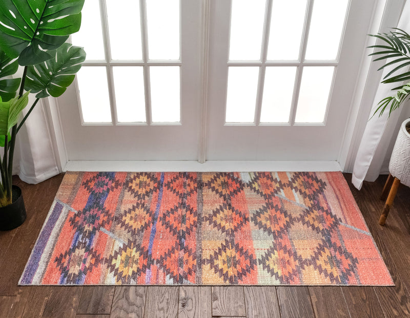 Trio Southwestern Geometric Melon Machine Washable Rug By Chill Rugs