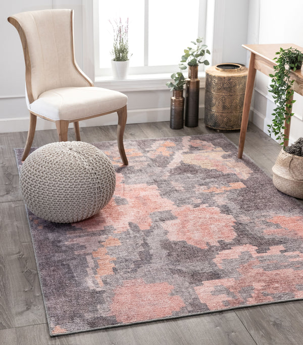 Flore Country Floral Grey Blush Pink Machine Washable Rug