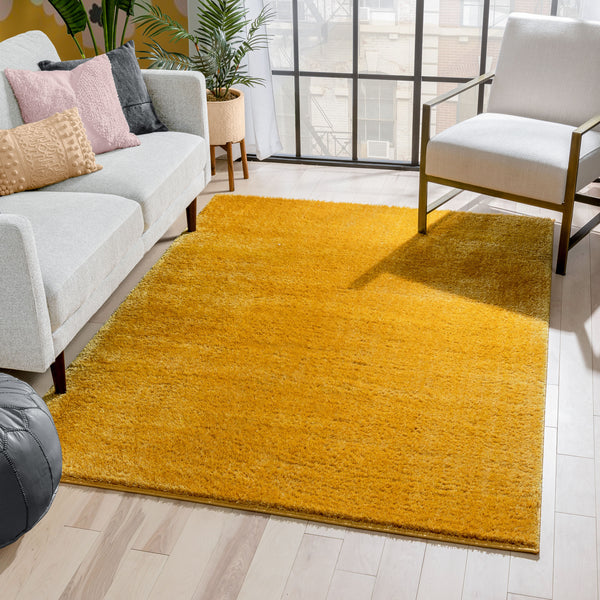 Chroma Glam Solid Ultra Soft Yellow Multi-Textured Shimmer Pile Shag Rug