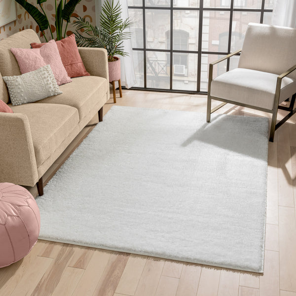 Chroma Glam Solid Ultra Soft Ivory Multi-Textured Shimmer Pile Shag Rug