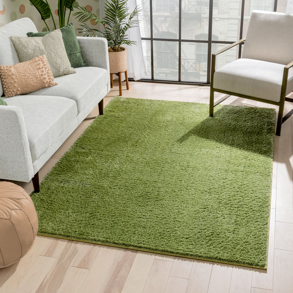 Chroma Glam Solid Ultra Soft Green Multi-Textured Shimmer Pile Shag Rug