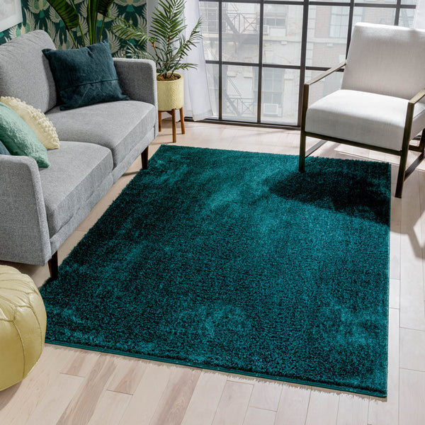 Chroma Glam Solid Ultra Soft Teal Multi-Textured Shimmer Pile Shag Rug