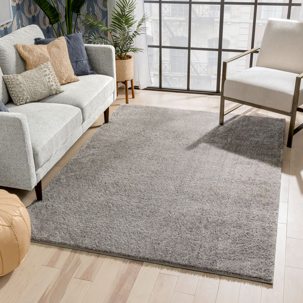Chroma Glam Solid Ultra Soft Light Grey Multi-Textured Shimmer Pile Shag Rug