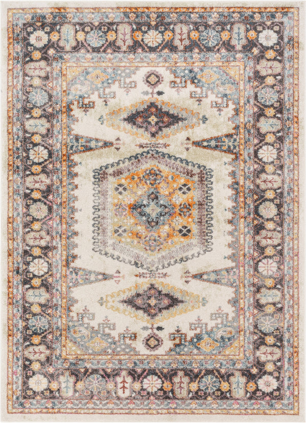 Roswell Bohemian Eclectic Aztec Beige Rug