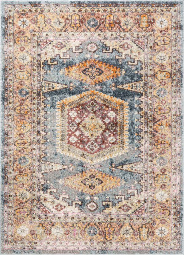 Roswell Bohemian Eclectic Aztec Blue Rug