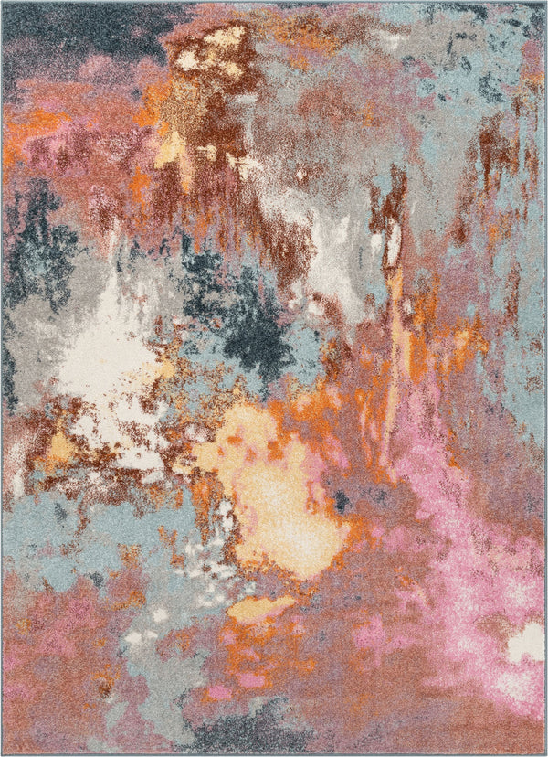 Petal Modern Abstract Paintsplash Distressed Blue Pink Rug