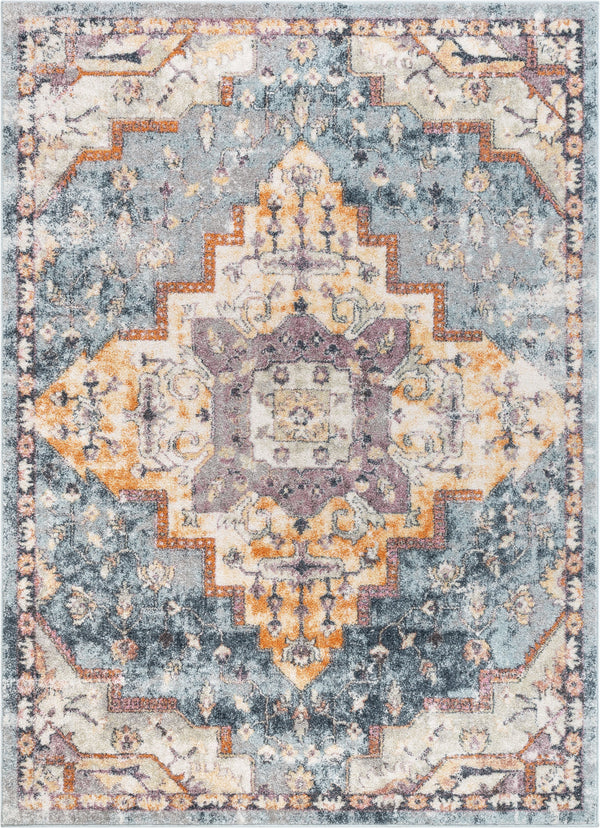 Encino Global Vintage Medallion Light Blue Rug