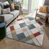 Rumba Mid-Century Modern Geometric Diamond Shapes Multi Distressed High-Low Rug
