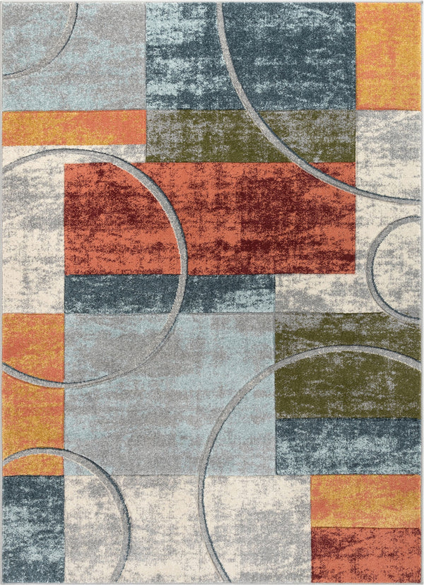 Jive Modern Abstract Geometric Arcs & Shapes Multi Distressed High-Low Rug