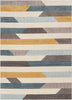 Savoy Contemporary Geometric Stripes Gold Blue Distressed High-Low Rug