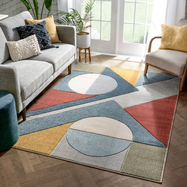 Glimmer Mid-Century Modern Geometric Pattern Multi Distressed High-Low Rug