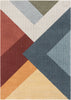 Alma Mid-Century Modern Geometric Triangle Pattern Multi-Color Distressed High-Low Rug