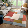 Addy Mid-Century Modern Geometric Squares Multi Distressed High-Low Rug