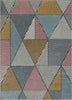 Lela Mid-Century Modern Geometric Traingle & Lines Multi Distressed High-Low Rug