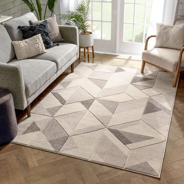 Otto Modern Geometric Boxes & Triangles Beige Distressed High-Low Rug